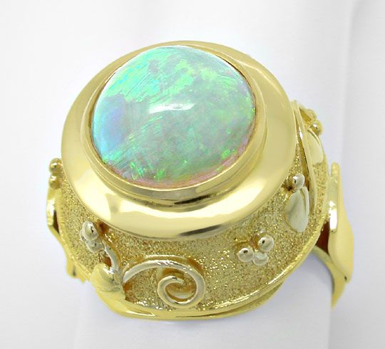 Foto 3, Opal-Handarbeits-Ring Super-Edel-Milch-Opal Luxus! Neu!, S8831