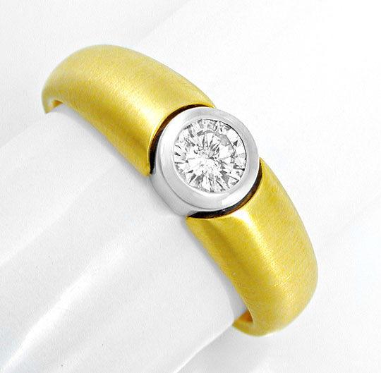 Foto 2, Neu! Brillant-Solitär-Ring Bicolor 18K Luxus! Portofrei, S8839