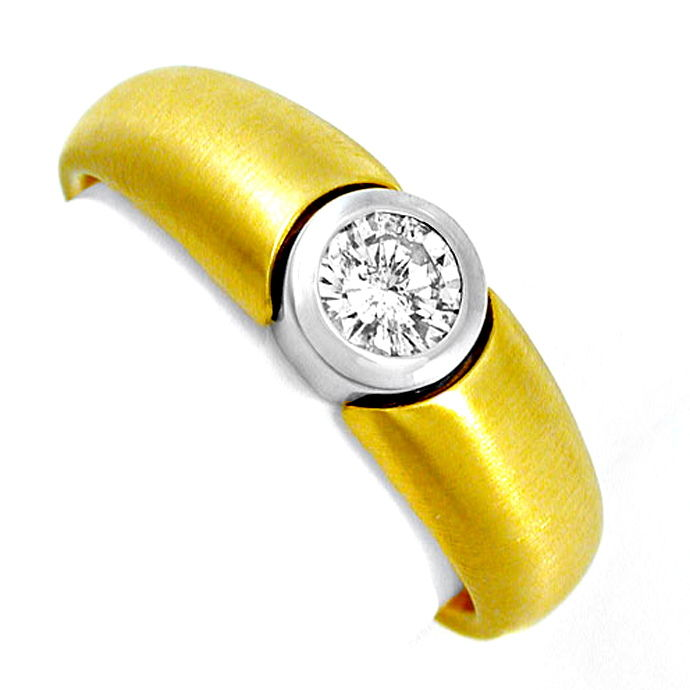 Neu! Brillant Solitär Ring Bicolor 18K Luxus! Portofrei, Designer Ring