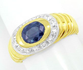 Foto 1, Diamant-Safir-Band-Ring River Top-Saphir 18K Luxus! Neu, S8845