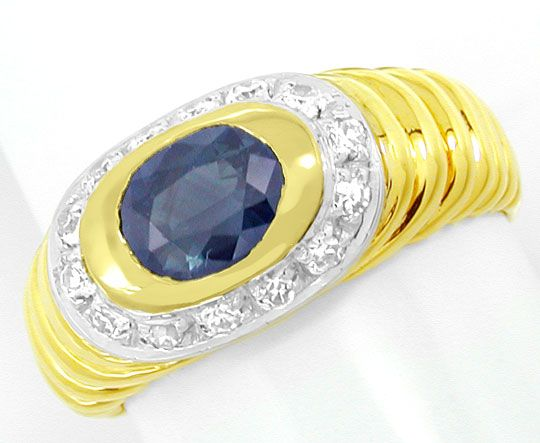 Foto 2, Diamant-Safir-Band-Ring River Top-Saphir 18K Luxus! Neu, S8845