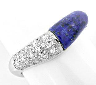Foto 1, Diamant-Ring Wg, Spitzen Lapis, Lapislazuli Luxus! Neu!, S8848