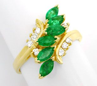 Foto 1, Brillant-Smaragd-Ring, Spitzen-Emeralds 14K Luxus! Neu!, S8852