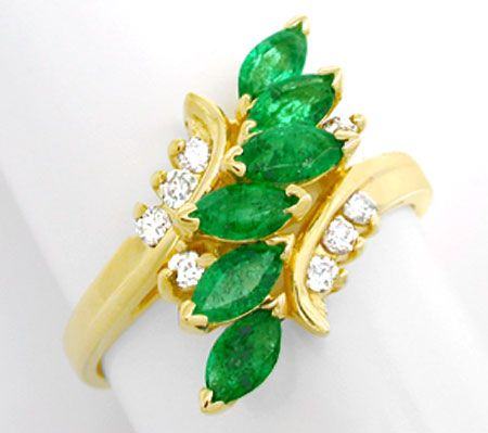 Foto 2, Brillant-Smaragd-Ring, Spitzen-Emeralds 14K Luxus! Neu!, S8852