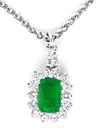 Foto 1, Kollier Traum-Smaragd 0,39ct Diamanten 18K Weiss Luxus!, S8853