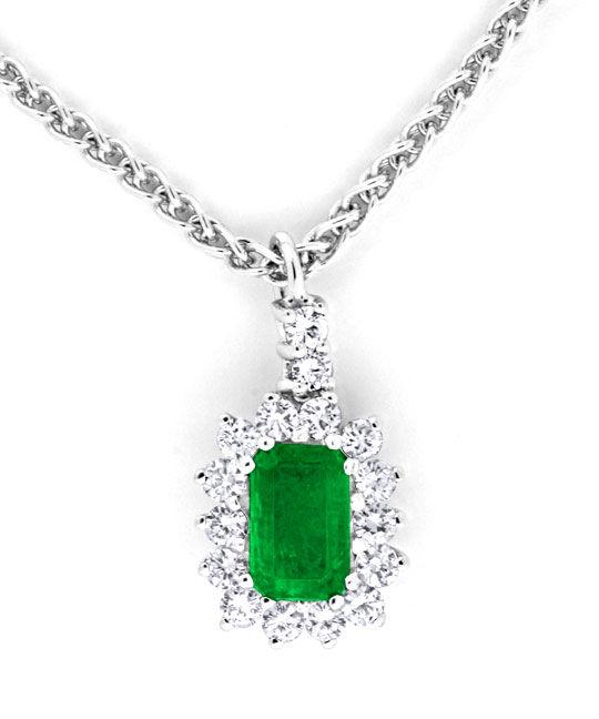 Foto 2, Kollier Traum-Smaragd 0,39ct Diamanten 18K Weiss Luxus!, S8853
