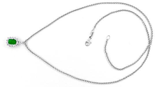 Foto 3, Kollier Traum-Smaragd 0,39ct Diamanten 18K Weiss Luxus!, S8853
