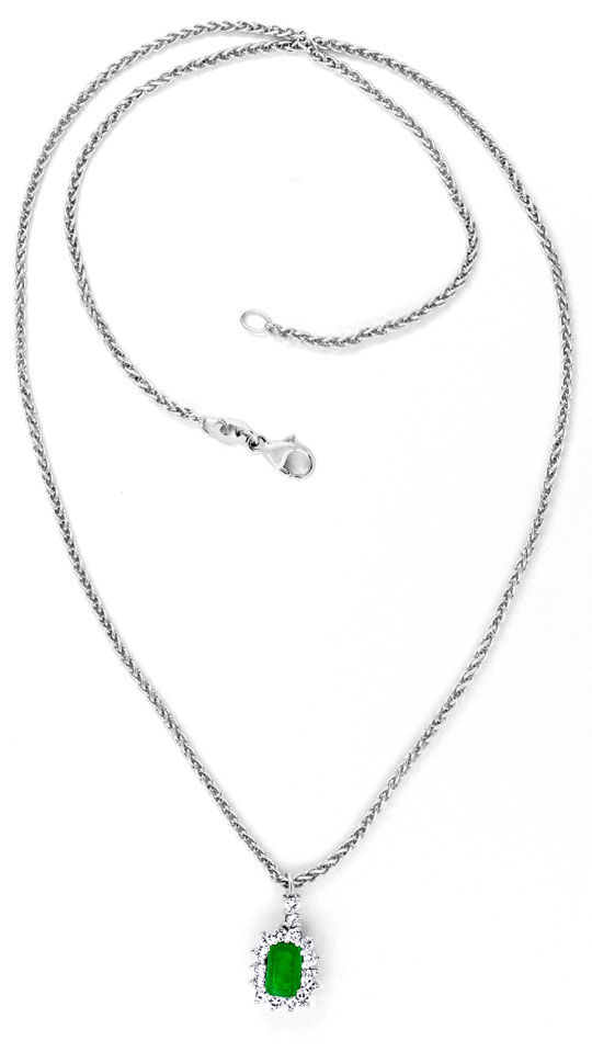 Foto 4, Kollier Traum-Smaragd 0,39ct Diamanten 18K Weiss Luxus!, S8853
