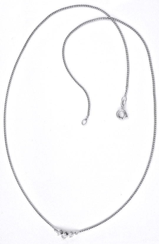 Foto 3, Brillant-Collier Weissgold, 3 Diamant-Chatons Shop Neu!, S8854