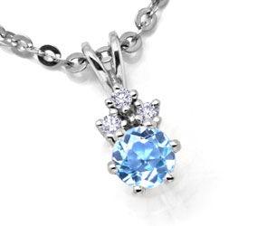 Foto 1, Weissgold-Kollier 3 Diamanten Hellblauer Stein Shop Neu, S8855