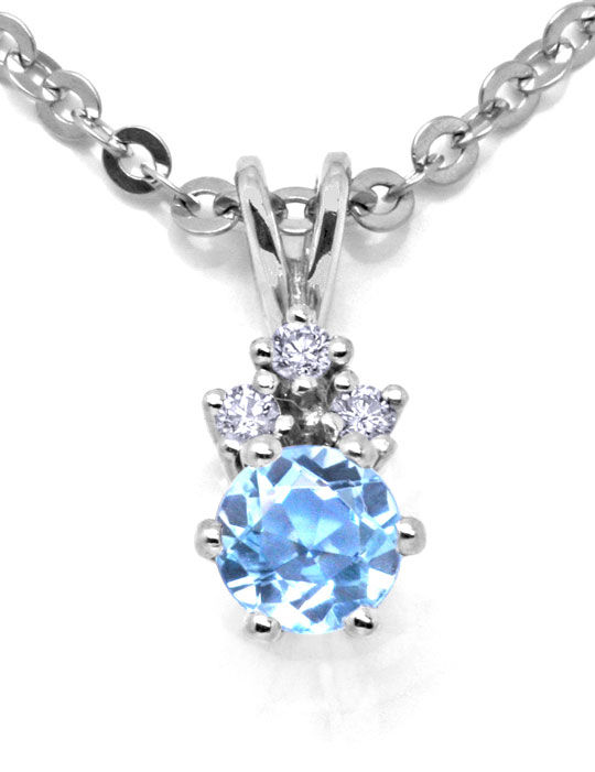 Foto 2, Weissgold-Kollier 3 Diamanten Hellblauer Stein Shop Neu, S8855