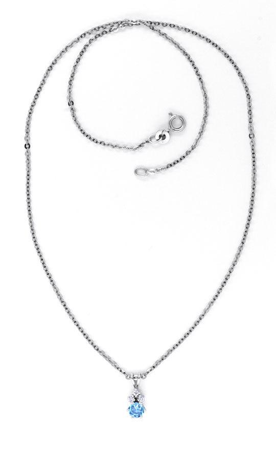 Foto 4, Weissgold-Kollier 3 Diamanten Hellblauer Stein Shop Neu, S8855