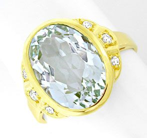 Foto 1, Diamant-Ring, Grosser! Aquamarin Gelb-Gold, Luxus! Neu!, S8860