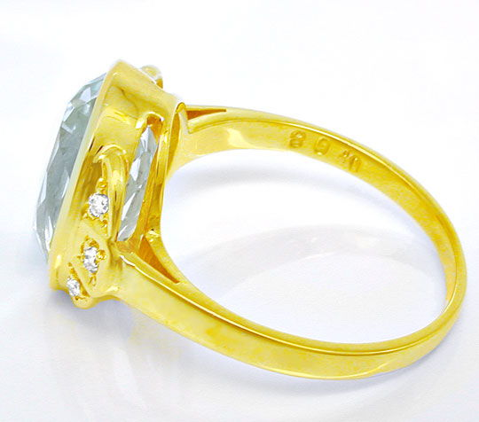 Foto 3, Diamant-Ring, Grosser! Aquamarin Gelb-Gold, Luxus! Neu!, S8860