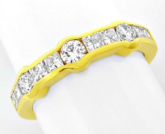 Foto 2, Ring Vollschliff- und Princess-Diamanten 18K Luxus! Neu, S8863