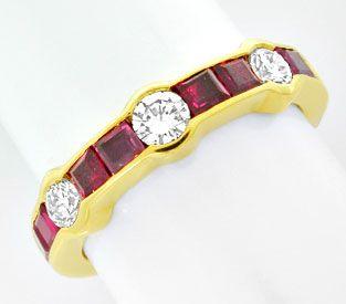 Foto 1, Memory-Diamant-Rubin-Ring, 18K/750 Gelbgold Luxus! Neu!, S8864