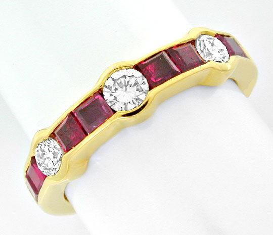 Foto 2, Memory-Diamant-Rubin-Ring, 18K/750 Gelbgold Luxus! Neu!, S8864