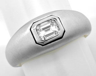 Foto 1, Emerald Cut Diamant Ring, Tw Plus Lupenrein Luxus! Neu!, S8869