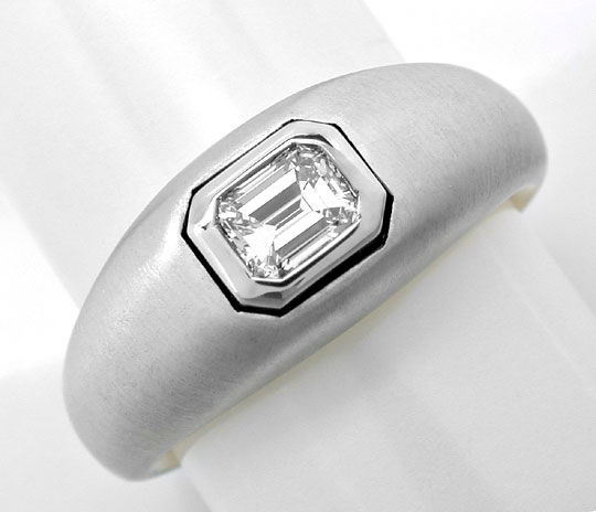 Foto 2, Emerald Cut Diamant Ring, Tw Plus Lupenrein Luxus! Neu!, S8869