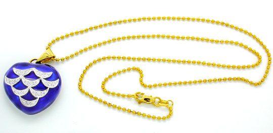 Foto 3, Gold-Brillant-Kollier, 18K, Blaues Emaille, Luxus! Neu!, S8872