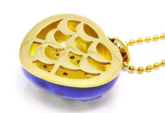 Foto 4, Gold-Brillant-Kollier, 18K, Blaues Emaille, Luxus! Neu!, S8872