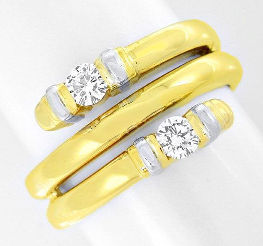 Foto 2, Top Designer-Diamant-Ring 14K/585 Zweifarbig Luxus! Neu, S8873