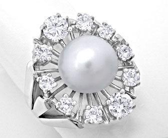 Foto 1, Weissgold-Ring 10mm Spitzen-Perle und 1,22ct Brillanten, S8876