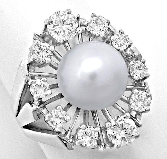 Foto 2, Weissgold-Ring 10mm Spitzen-Perle und 1,22ct Brillanten, S8876
