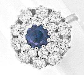 Foto 1, Diamant-Safir-Ring 1,28 Carat Brillanten, Luxus! Neu/Ls, S8881