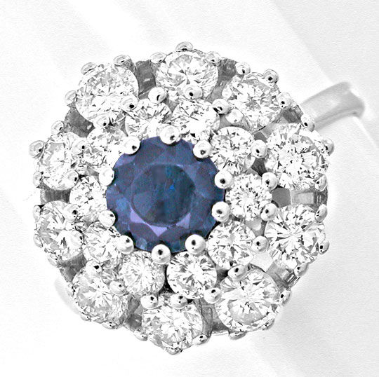 Foto 2, Diamant-Safir-Ring 1,28 Carat Brillanten, Luxus! Neu/Ls, S8881