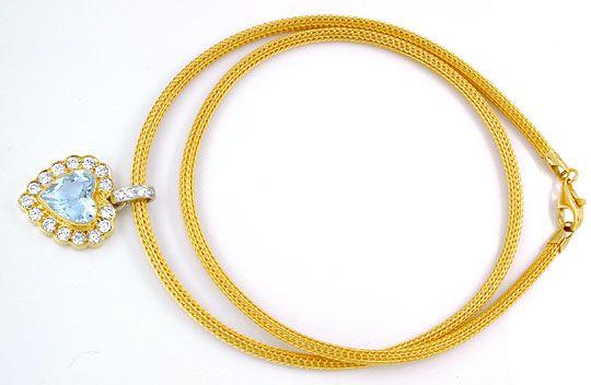 Foto 3, Brillant-Kollier 3ct Spitzen-Herz-Aquamarin Luxus! Neu!, S8883