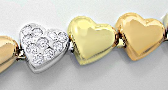 Foto 1, Diamant-Herz-Armband Gelb- Weissgold Rotgold Luxus! Neu, S8884