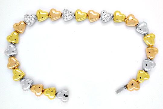 Foto 2, Diamant-Herz-Armband Gelb- Weissgold Rotgold Luxus! Neu, S8884