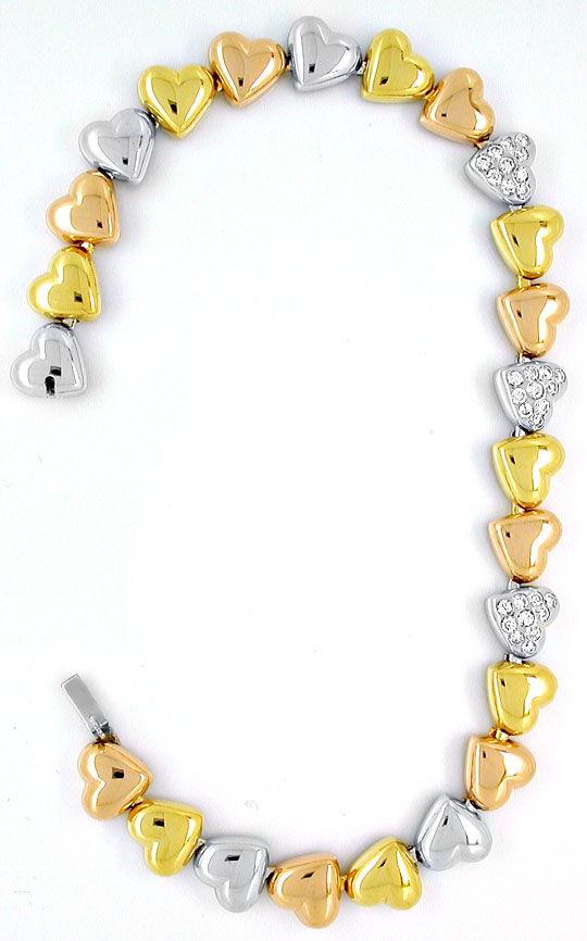 Foto 3, Diamant-Herz-Armband Gelb- Weissgold Rotgold Luxus! Neu, S8884
