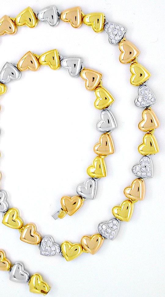 Foto 3, Diamant-Herz-Kollier Gelb- Weissgold Rotgold Luxus! Neu, S8885