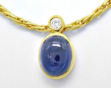 Foto 1, Diamant-Kollier 3,2ct Spitzen-Safir,-Saphir Luxus! Neu!, S8888