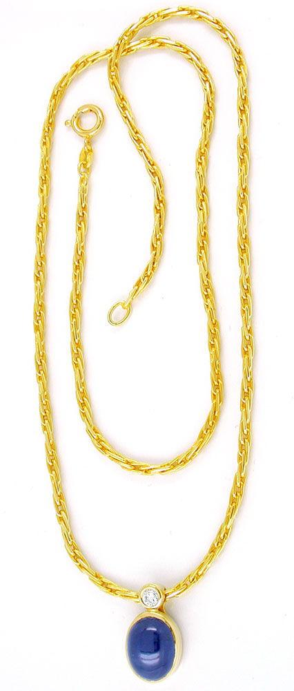 Foto 4, Diamant-Kollier 3,2ct Spitzen-Safir,-Saphir Luxus! Neu!, S8888
