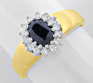 Foto 1, Safir-Brillant-Ring, 14-Karat Bicolor, 0.85 Saphir Shop, S8893