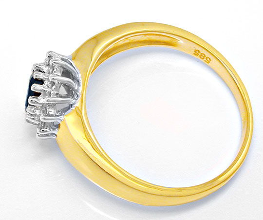 Foto 3, Safir Brillant Ring, 14 Karat Bicolor, 0.85 Saphir Shop, S8893