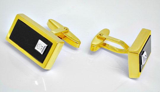 Foto 1, Manschettenknöpfe mit Diamanten und Onyx 14K Luxus! Neu, S8897