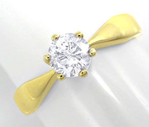 Foto 1, Brillant Solitärring 0,63ct River E Gelbgold Luxus! Neu, S8900
