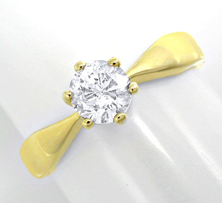Foto 2, Brillant Solitärring 0,63ct River E Gelbgold Luxus! Neu, S8900