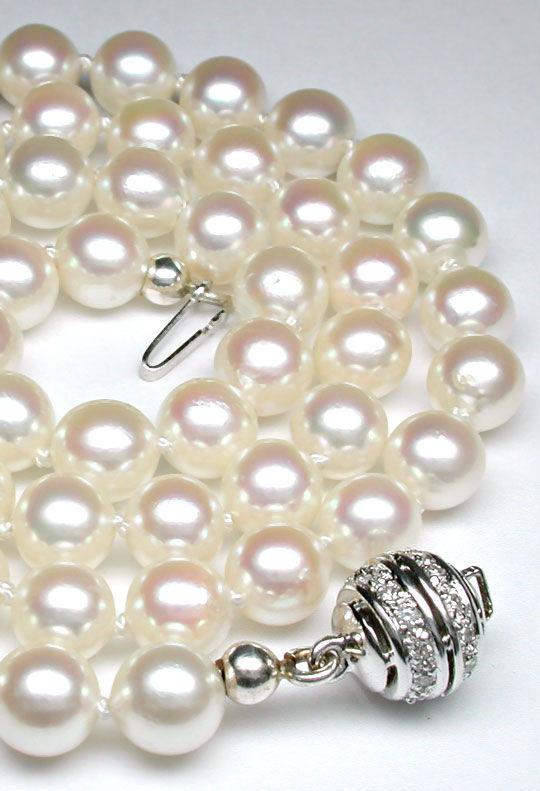Foto 3, Traum Spitzen Zuchtperlkette Diamantschloss Luxus! Neu!, S8901