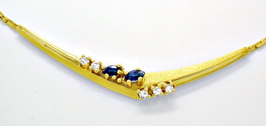 Foto 1, Diamant Kollier mit Safiren/Saphiren Gelbgold Shop Neu!, S8904