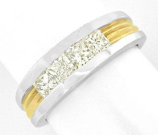 Foto 1, Memory Diamant Ring 0,7ct Princess Cut, 18K Luxus! Neu!, S8905