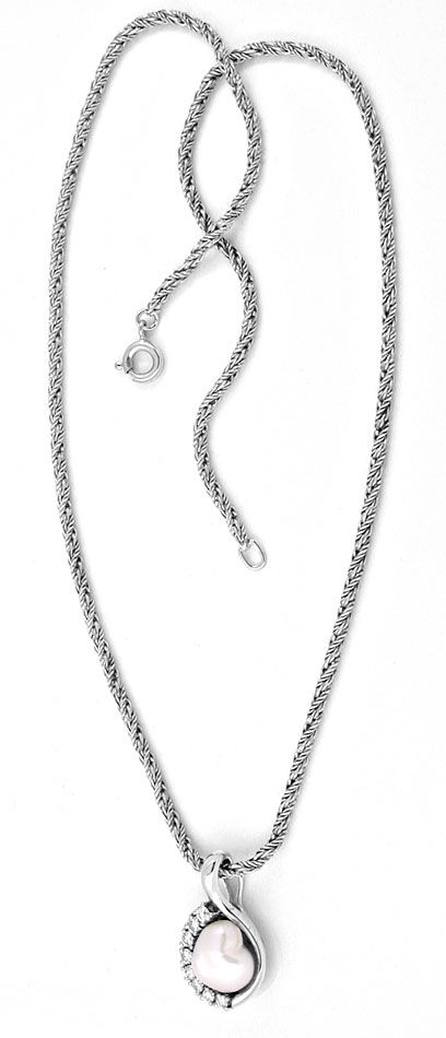 Foto 3, Brillant Keshi Perlen Kollier 14K Weissgold Luxus! Neu!, S8909