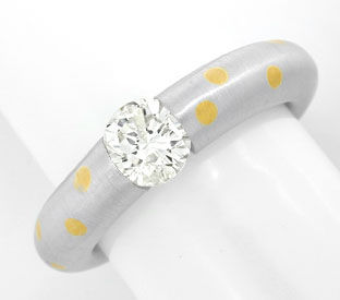 Foto 1, Platin Diamant Solitär Ring 0,90ct Brillant Luxus! Neu!, S8911