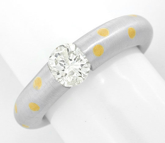 Foto 2, Platin Diamant Solitär Ring 0,90ct Brillant Luxus! Neu!, S8911