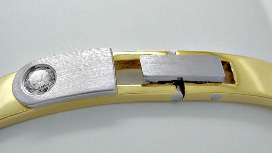 Foto 2, Platin Gelbgold Diamant Armreif 0,17ct Brillant, Luxus!, S8914