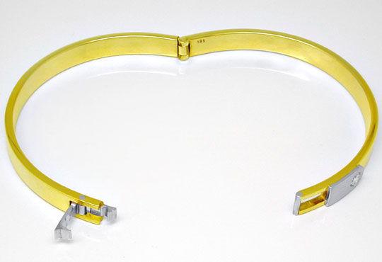 Foto 3, Platin Gelbgold Diamant Armreif 0,17ct Brillant, Luxus!, S8914
